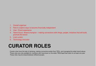 CURATOR ROLES