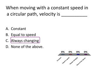 When moving with a constant speed in a circular path, velocity is __________