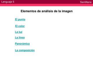Elementos de an�lisis de la imagen