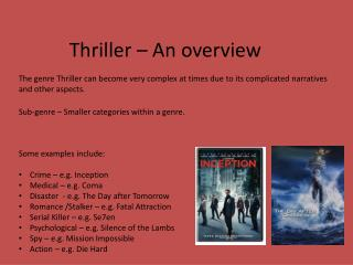 Thriller – An overview