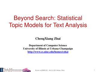 Beyond Search: Statistical Topic Models for Text Analysis