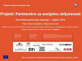 Projekt: Partnerstvo za socijalnu uključenost Virovitičko-podravska županija – veljača  20 10.