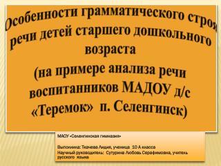 МАОУ « Селенгинская  гимназия» Выполнила: Ткачева Лидия, ученица  10 А класса