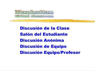 Discusión de la Clase Salón del Estudiante Discusión Anónima  Discusión de Equipo