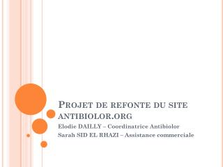 Projet de refonte du site antibiolor