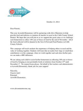 October 23, 2014 Dear Parents,
