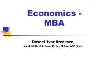Economics - MBA
