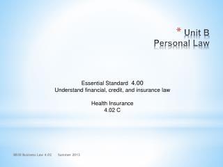 Unit B Personal Law