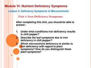 Module VI: Nutrient Deficiency Symptoms