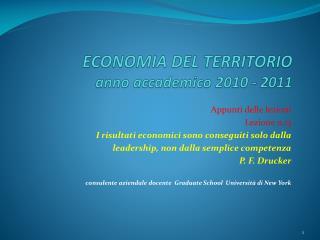 ECONOMIA DEL TERRITORIO anno accademico  2010  -  2011