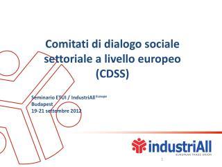 Comitati di dialogo sociale settoriale a livello europeo (CDSS)