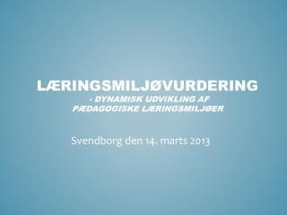 L�ringsmilj�vurdering - dynamisk udvikling af  p�dagogiske l�ringsmilj�er