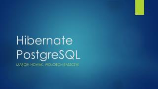 Hibernate PostgreSQL