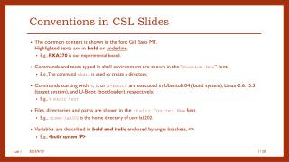 Conventions in CSL Slides