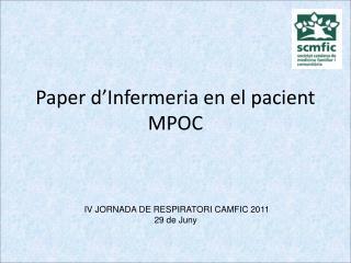Paper d'Infermeria en el pacient MPOC