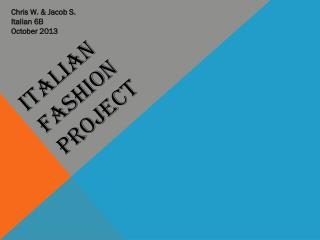 Italian Fashion Project