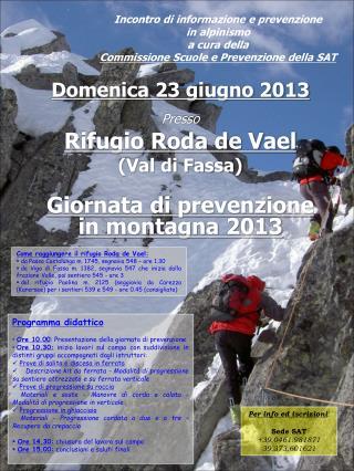 Incontro di informazione e prevenzione  in alpinismo a cura della