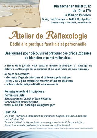 A telier de  R éflexologie Dédié à la pratique familiale et personnelle