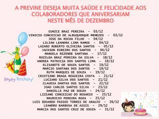 EUNICE BRAZ PEREIRA  -  03/12  VINICIO CONCEICAO DE ALBUQUERQUE MENEZES  -  03/12