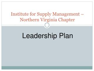 Institute for Supply Management � Northern Virginia Chapter