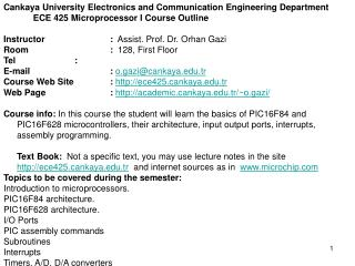 Cankaya University Electronics and Communication Engineering Department
