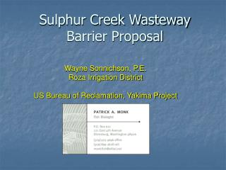 Sulphur Creek Wasteway Barrier Proposal