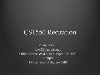 CS1550 Recitation