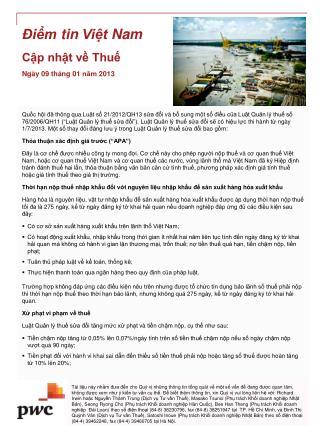 Điểm  tin  Việt  Nam Cập nhật về Thuế Ngày 09  tháng  01  năm  2013