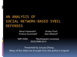 An analysis of  Social Network-based Sybil defenses