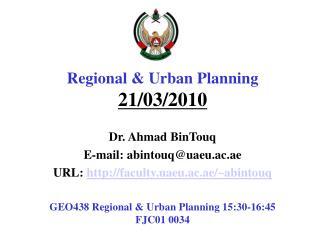 Regional & Urban  Planning  21/03/2010