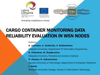 Cargo Container Monitoring Data Reliability Evaluation in WSN  Nodes