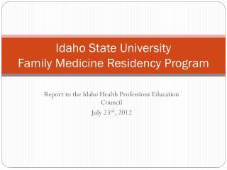 Idaho State University Family Medicine Residency Program