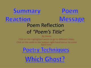 "Poem Reflection of  ""Poem's Title"""