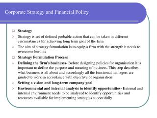 Corporate Strategy and Financial Policy