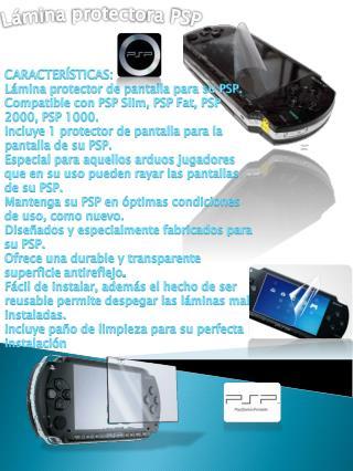 CARACTERÍSTICAS: Lámina p rotector de pantalla para su PSP.