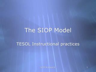 The SIOP Model