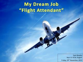 """My Dream Job """"Flight Attendant"""""""