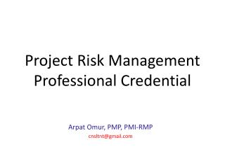 Project Risk Management  Professional Credential