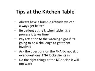 Tips at the Kitchen Table