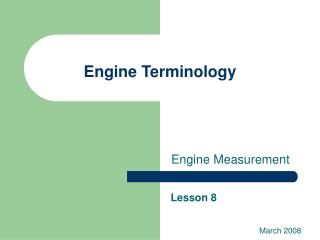 Engine Terminology
