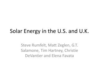 Solar Energy in the U.S. and U.K.