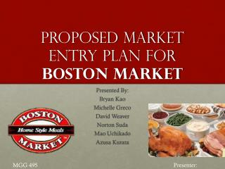 Proposed market entry plan for Boston Market