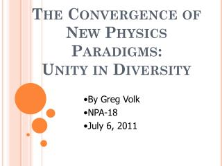 The Convergence of New Physics Paradigms: Unity in Diversity