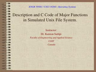 Description and C Code of Major Functions in Simulated Unix File System.