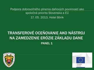 Transferové oceňovanie ako nástroj na zamedzenie erózie základu dane Panel 1