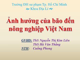 Trường  ĐH  sư phạm  Tp.  Hồ Chí  Minh   Khoa Địa Lí 