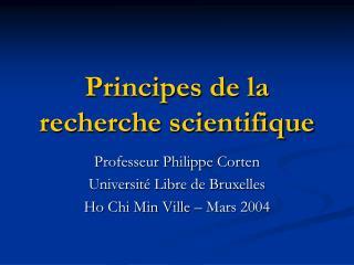 Principes de la recherche scientifique