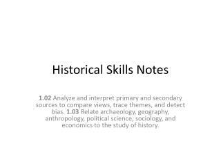 Historical Skills Notes