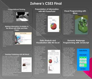 Zohere�s CSE3 Final