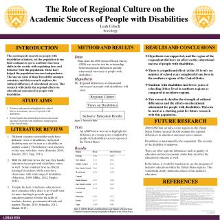The Role  of  Regional Culture  on the  Academic Success  of  People  with D isabilities